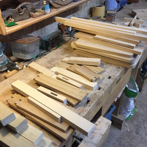 Furniture making joins on a workbench
